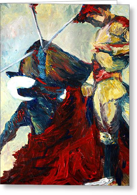 Mexican Fighters Greeting Cards - Matador Greeting Card by Frank Botello