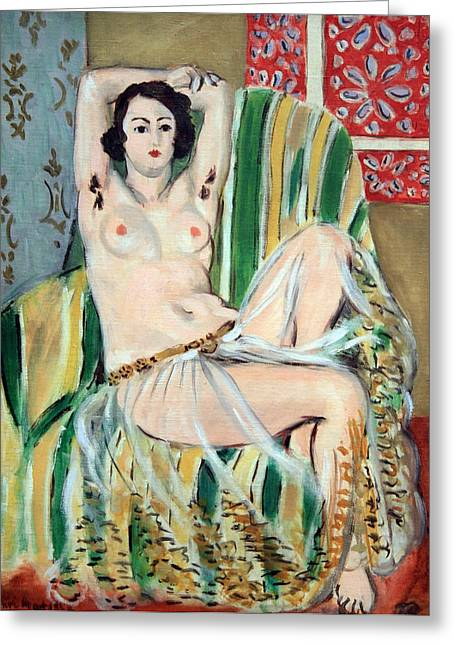 Odalisque Photographs Greeting Cards - Matisses Odalisque Seated With Arms Raised In Green Striped Chair Greeting Card by Cora Wandel