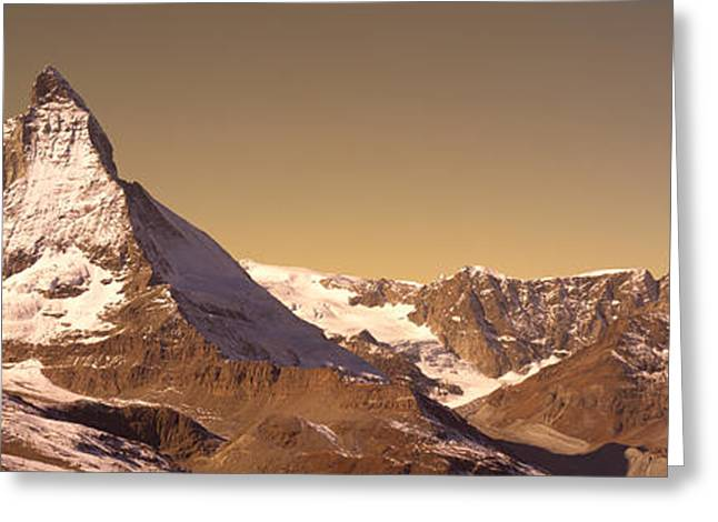 Snow-covered Landscape Greeting Cards - Matterhorn Switzerland Greeting Card by Panoramic Images