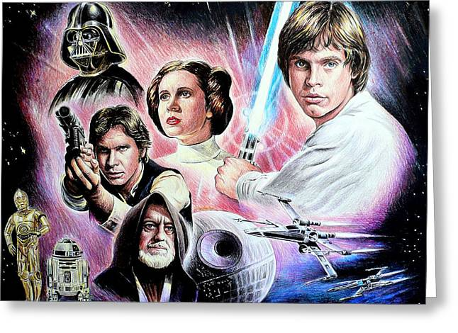 Movie Drawings Greeting Cards - May the force be with you Greeting Card by Andrew Read