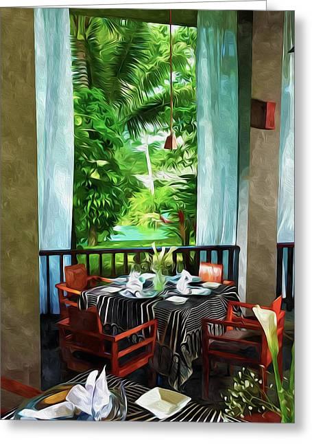 Wine Service Paintings Greeting Cards - Maya Sari Mas Greeting Card by Lanjee Chee