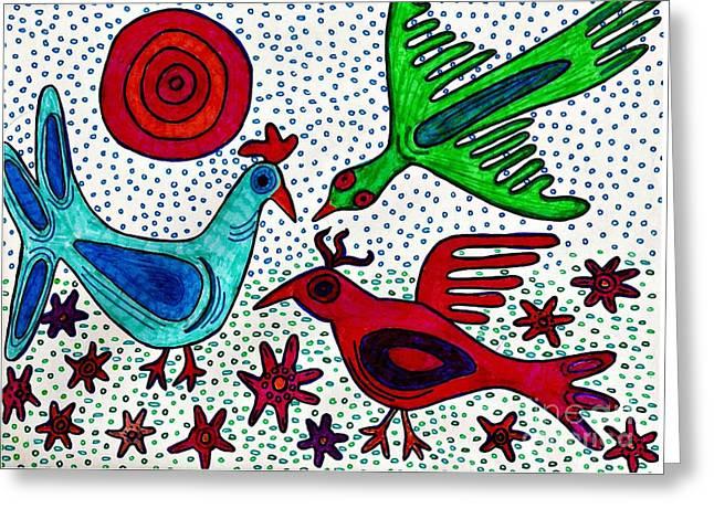 Ethnic Drawings Greeting Cards - Mayan Birds Greeting Card by Sarah Loft