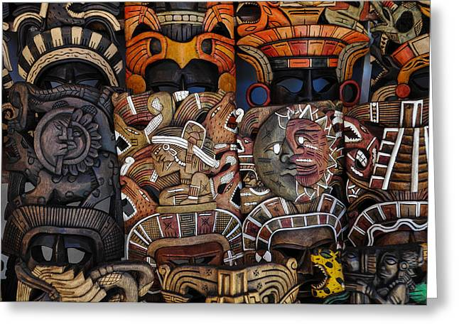 Wooden Sculpture Greeting Cards - Mayan Wooden Masks for Sale Greeting Card by Brandon Bourdages