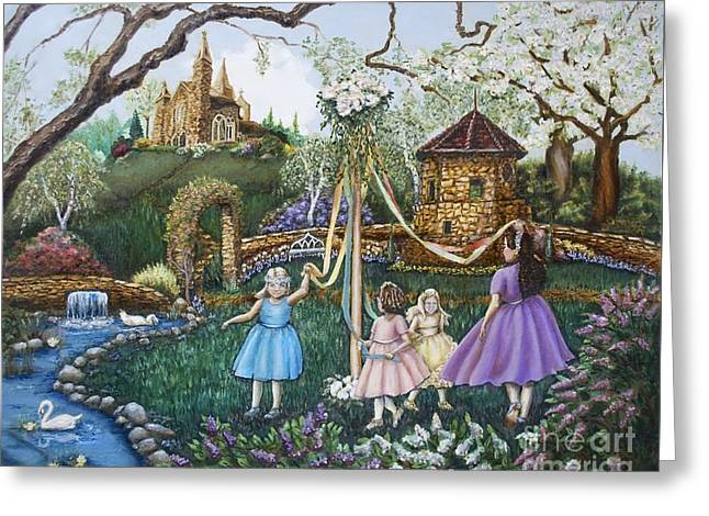 Little Girl Greeting Cards - Mayday Serenade  Greeting Card by Linda Simon