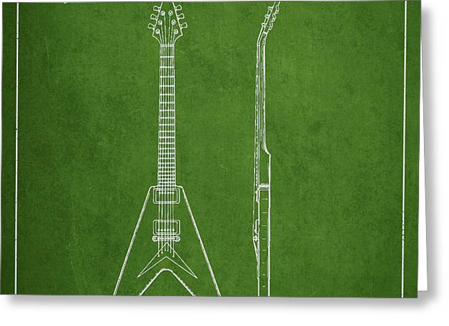 Mccarty Gibson Electric guitar patent Drawing from 1958 - Green Greeting Card by Aged Pixel