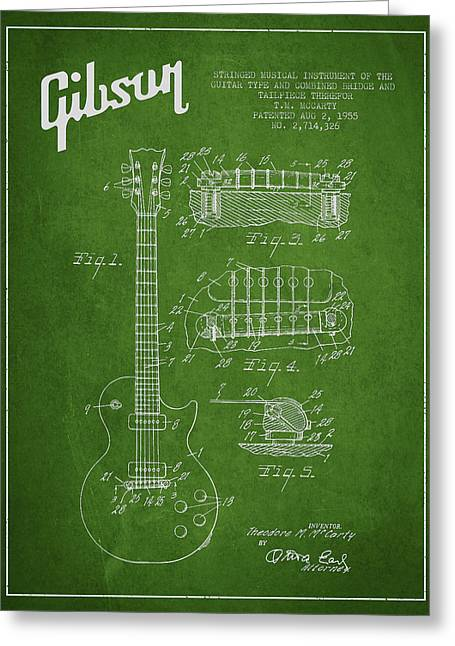 Gibson Greeting Cards - Mccarty Gibson Les Paul guitar patent Drawing from 1955 - Green Greeting Card by Aged Pixel