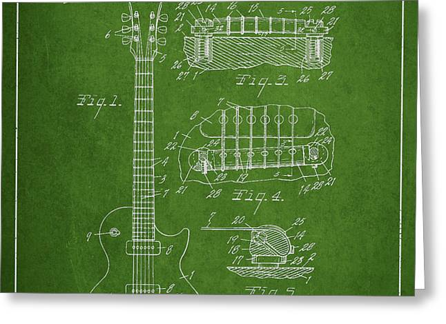 Mccarty Gibson Les Paul guitar patent Drawing from 1955 - Green Greeting Card by Aged Pixel