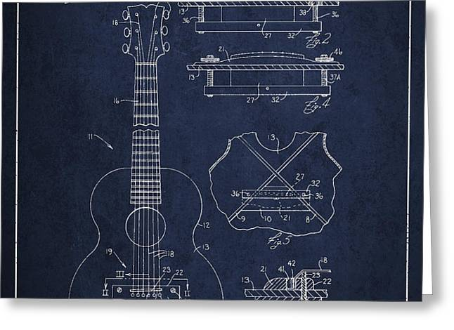 Mccarty Gibson stringed instrument patent Drawing from 1969 - Navy Blue Greeting Card by Aged Pixel