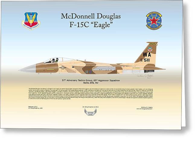 Adversary Greeting Cards - McDonnell Douglas F-15C Eagle Greeting Card by Arthur Eggers