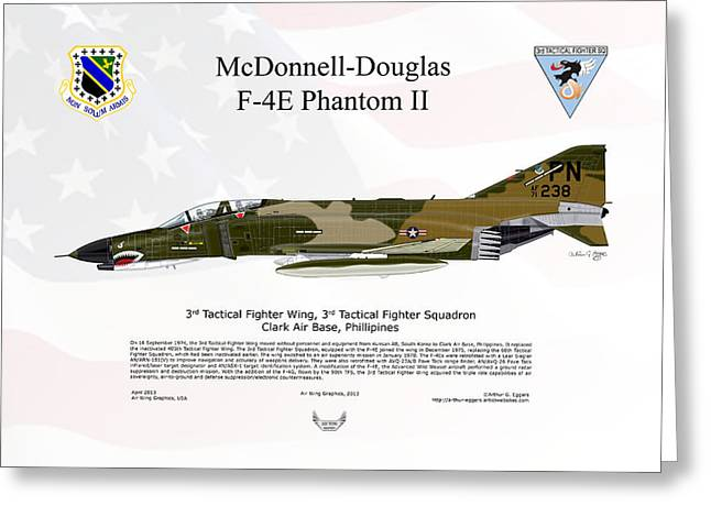 F-101 Greeting Cards - McDonnell Douglas F-4E Phantom II Greeting Card by Arthur Eggers