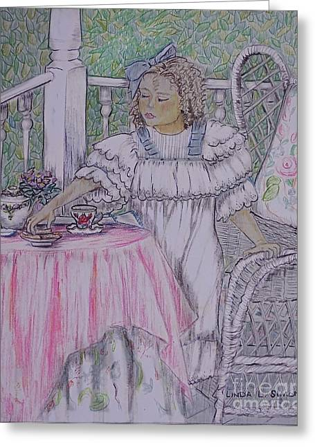 Linda Simon Wall Decor Drawings Greeting Cards - McKennas Tea Party Greeting Card by Linda Simon