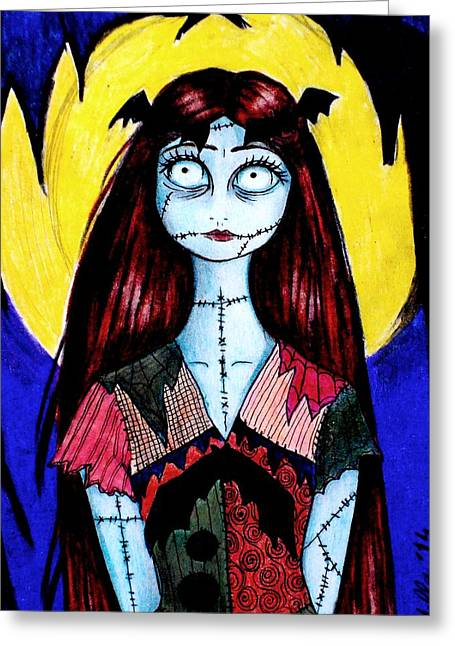 Burton Drawings Greeting Cards - Me in the role of Sally Greeting Card by Donatella Muggianu