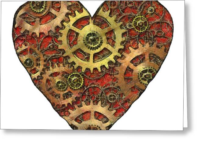Mechanical Heart Greeting Card by Michal Boubin
