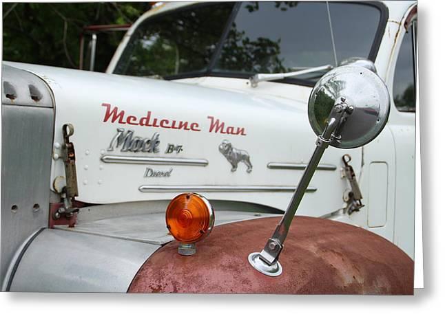 Headlight Pyrography Greeting Cards - Medicine Man Mack Greeting Card by Susan Roberts