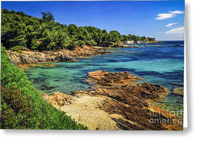 Warm Summer Greeting Cards - Mediterranean coast of French Riviera Greeting Card by Elena Elisseeva