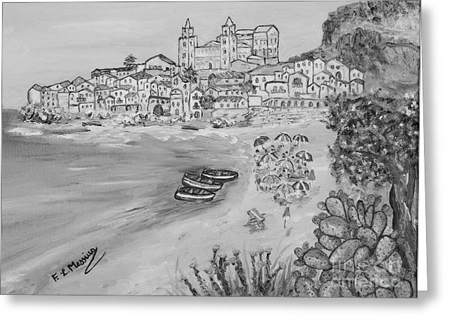 Mediterranean Landscape Drawings Greeting Cards - Memorie destate Greeting Card by Loredana Messina