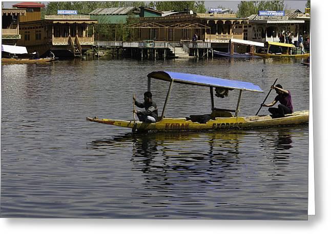 Ply Greeting Cards - 2 men paddling a shikhara in the water of the Dal Lake in Srinag Greeting Card by Ashish Agarwal