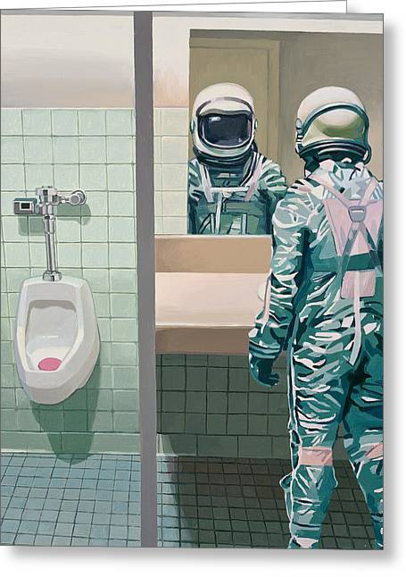 Mirrored Greeting Cards - Mens Room Greeting Card by Scott Listfield