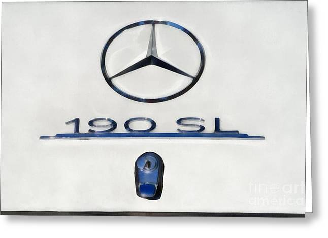 Car Mascot Paintings Greeting Cards - 1962 Mercedes 190 SL Greeting Card by George Atsametakis