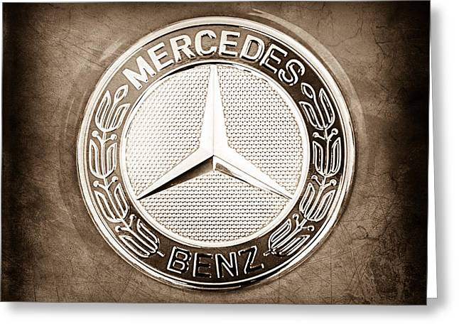 Gullwing Greeting Cards - Mercedes-Benz 6.3 AMG Gullwing Emblem Greeting Card by Jill Reger