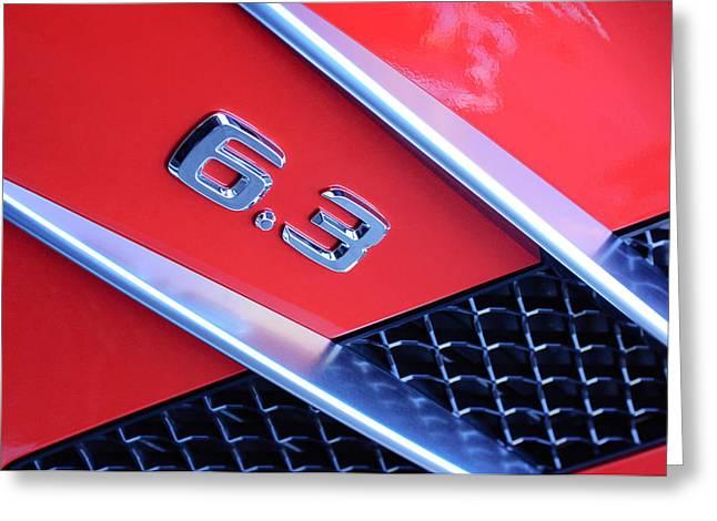 Mercedes Gullwing Greeting Cards - Mercedes-Benz 6.3 Gullwing Emblem Greeting Card by Jill Reger