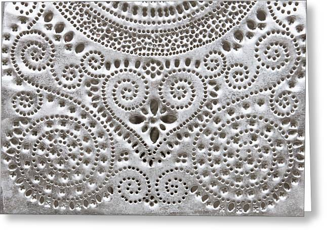 Embossed. Greeting Cards - Metal pattern Greeting Card by Tom Gowanlock