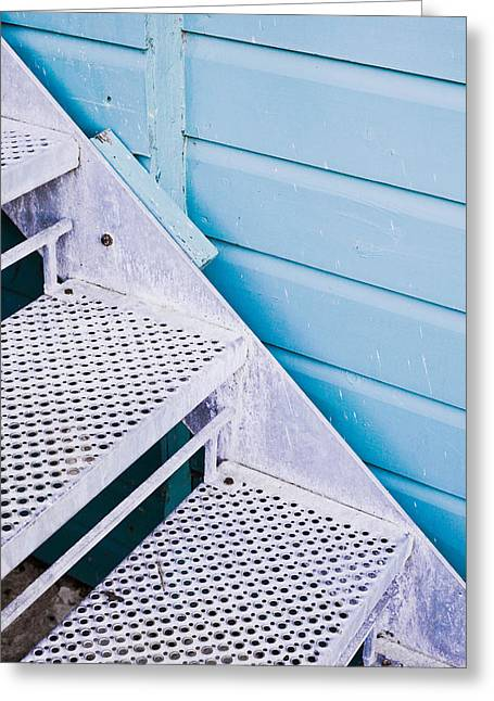Modern Photographs Greeting Cards - Metal stairs Greeting Card by Tom Gowanlock