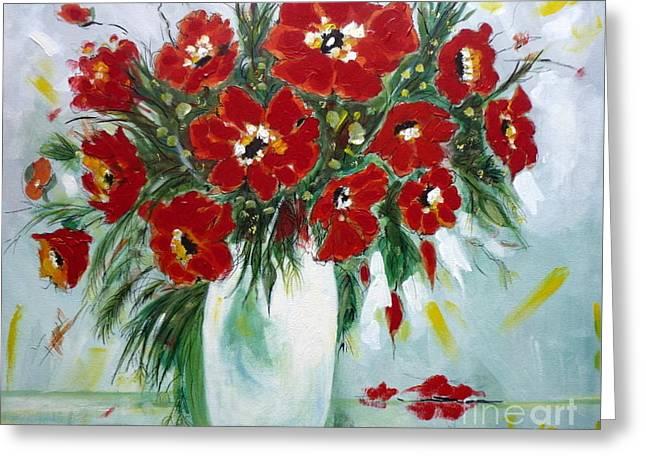 Lounge Paintings Greeting Cards - Metas Flowers Greeting Card by Angela  Gannicott