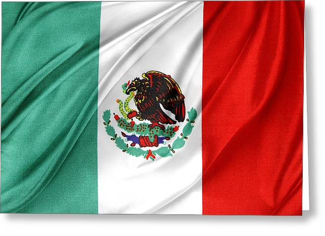 Best Sellers -  - Textile Photographs Greeting Cards - Mexican flag Greeting Card by Les Cunliffe