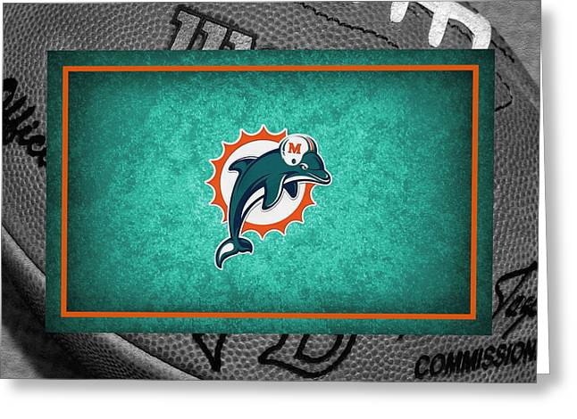 Dolphins Greeting Cards - Miami Dolphins Greeting Card by Joe Hamilton