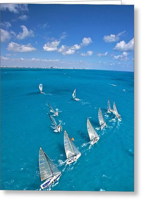 Mahogany Red Greeting Cards - Miami Horizon Greeting Card by Steven Lapkin