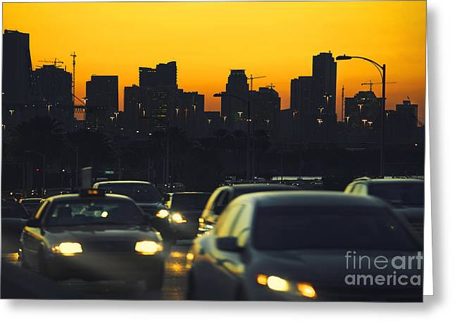 Peaceful Scene Pyrography Greeting Cards - Miami Skyline Greeting Card by Dmitry Chernomazov