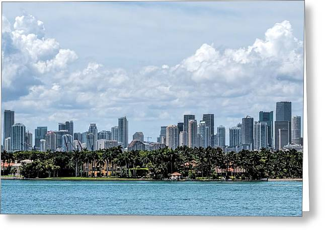 Aspect Greeting Cards - Miami Skyline Greeting Card by Rudy Umans