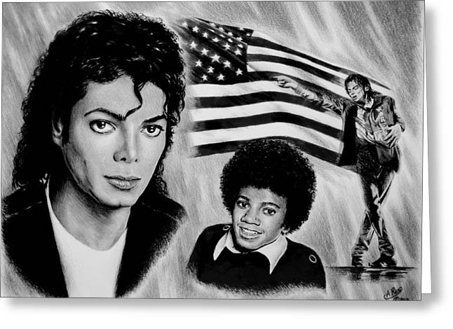 Michael Jackson Greeting Cards - Michael Jackson American Legend Greeting Card by Andrew Read