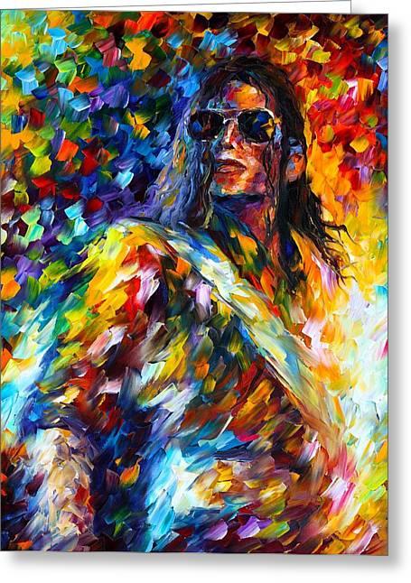 Michael Jackson Greeting Cards - Michael Jackson Greeting Card by Leonid Afremov