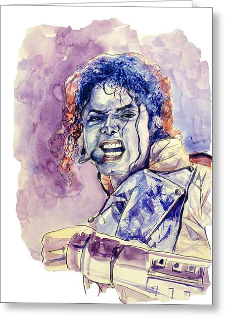 Gloves Drawings Greeting Cards - Michael Jackson Greeting Card by MB Art factory