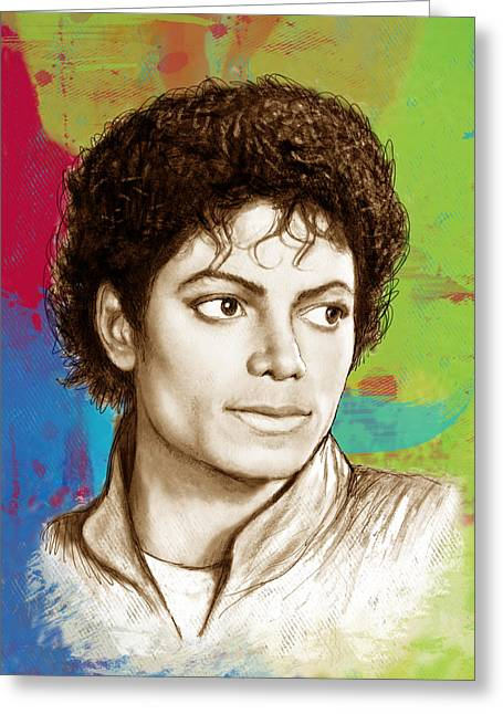 Choreographer Greeting Cards - Michael Jackson stylised pop art drawing sketch poster Greeting Card by Kim Wang