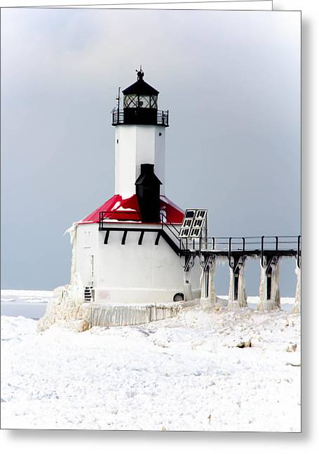 Indiana Springs Digital Art Greeting Cards - Michigan City Indiana lighthouse Greeting Card by Lynne Dohner