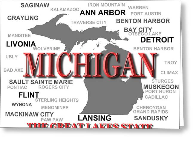 The Great Lakes Greeting Cards - Michigan State Pride Map Silhouette  Greeting Card by Keith Webber Jr
