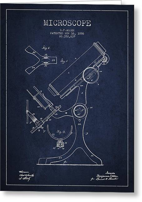 Device Greeting Cards - Microscope Patent Drawing From 1886 - Navy Blue Greeting Card by Aged Pixel