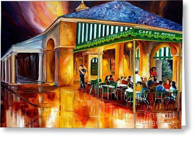 Night Cafe Greeting Cards - Midnight at the Cafe Du Monde Greeting Card by Diane Millsap