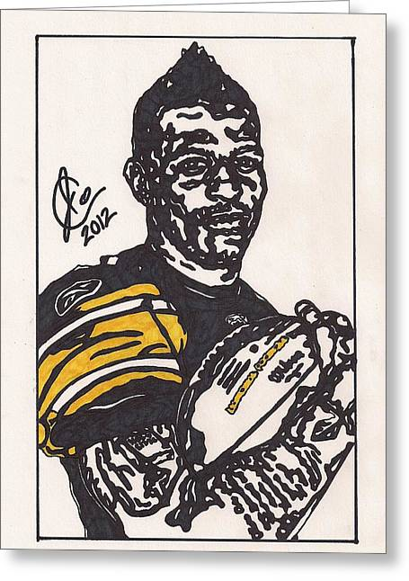 Steelers Drawings Greeting Cards - Mike Wallace 3 Greeting Card by Jeremiah Colley
