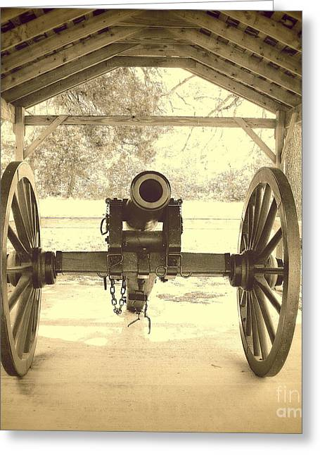 Civil War Site Greeting Cards - Military Cannon Fort Washita Greeting Card by Mickey Harkins