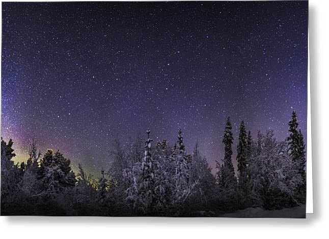 Temperature Greeting Cards - Milky Way Galaxy With Aurora Borealis Greeting Card by Panoramic Images