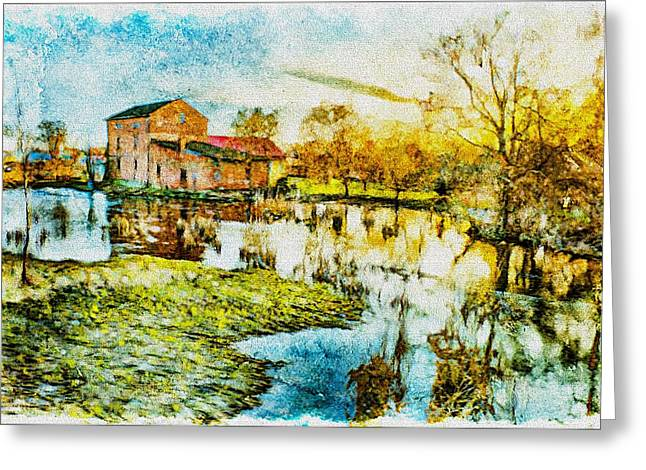 Culture Mixed Media Greeting Cards - Mill by the river Greeting Card by Jaroslaw Grudzinski