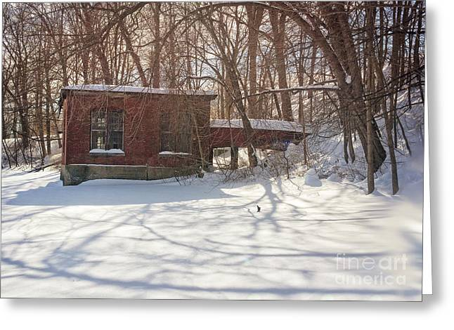 Snowy Evening Greeting Cards - Mill Greeting Card by HD Connelly