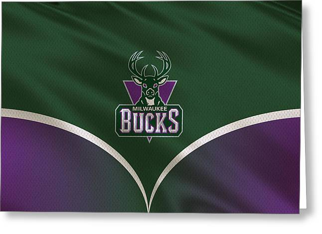 Bucks Greeting Cards - Milwaukee Bucks Uniform Greeting Card by Joe Hamilton