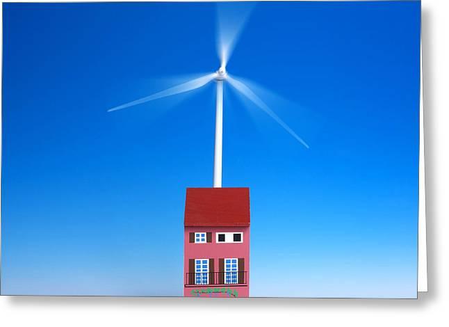 Blurred Motion Greeting Cards - Miniature wind turbine Greeting Card by Bernard Jaubert