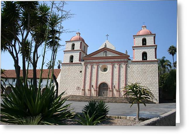St Barbara Greeting Cards - Mission Santa Barbara Greeting Card by Christiane Schulze Art And Photography