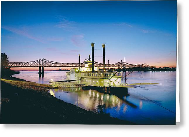 Steamboat Greeting Cards - Mississippi River Casino Boat Sunset Greeting Card by Mountain Dreams